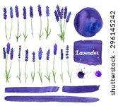 vector watercolor elements set...   Shutterstock .eps vector #296145242