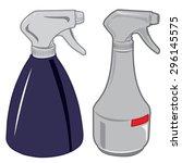 white and blue spray bottle of... | Shutterstock .eps vector #296145575