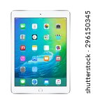front view of apple silver ipad ... | Shutterstock . vector #296150345