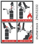 fire extinguisher label. fire... | Shutterstock .eps vector #296152232