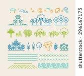 vector linear landscape icons...   Shutterstock .eps vector #296167175