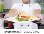 chef presented plate of... | Shutterstock . vector #296172242