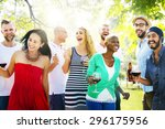 diverse people friends hanging... | Shutterstock . vector #296175956