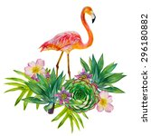 pink flamingo with exotic... | Shutterstock . vector #296180882