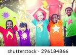 children flying kite playful... | Shutterstock . vector #296184866
