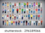 multiethnic casual people... | Shutterstock . vector #296189066