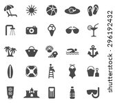 beach black icons set.vector | Shutterstock .eps vector #296192432