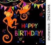 birthday card. celebration... | Shutterstock .eps vector #296212646