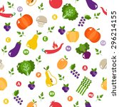 bright vegetable set in flat... | Shutterstock . vector #296214155