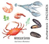 Watercolor Seafood  Set. Hand...
