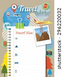 blank paper traveling plan and... | Shutterstock .eps vector #296220032