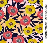 seamless pattern with flowers... | Shutterstock .eps vector #296223002