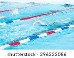 kids swim meet in outdoor pool... | Shutterstock . vector #296223086