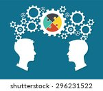 the heads of two people with... | Shutterstock .eps vector #296231522