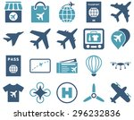 airport icon set. these flat... | Shutterstock . vector #296232836