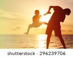 father and little son... | Shutterstock . vector #296239706