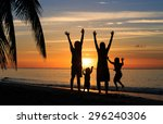 happy family with two kids... | Shutterstock . vector #296240306