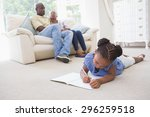 happy family at home in the... | Shutterstock . vector #296259518