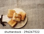 Breads In Brown Plate On Wood...
