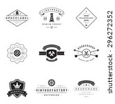 retro logotypes vector set.... | Shutterstock .eps vector #296272352