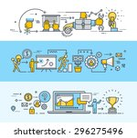 thin line flat design banners... | Shutterstock .eps vector #296275496