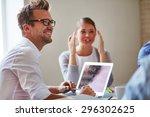 cheerful businessman in...   Shutterstock . vector #296302625