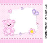 Stock vector card with pink teddy bear for girl vector template with place for your text 296305268