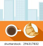 coffee  croissant  morning ... | Shutterstock .eps vector #296317832