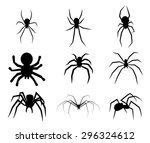 Set Of Black Silhouette Spider...