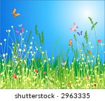 Flowers, grass and butterfly. A beautiful meadow! - stock vector