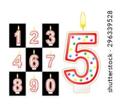 birthday candles number. red | Shutterstock .eps vector #296339528