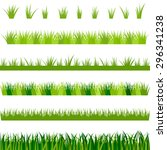 collection of green grass ... | Shutterstock .eps vector #296341238