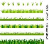 collection of green grass ... | Shutterstock .eps vector #296341238