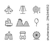 amusement park icons in thin... | Shutterstock .eps vector #296344052