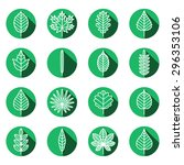 leaves types green icons vector ... | Shutterstock .eps vector #296353106