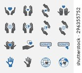two tone charity icon set... | Shutterstock .eps vector #296355752