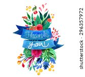 beautiful floral thank you card.... | Shutterstock .eps vector #296357972