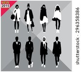 set of men and women black... | Shutterstock .eps vector #296358386
