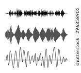 vector sound waves set. audio... | Shutterstock .eps vector #296358902