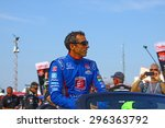 Milwaukee Wisconsin, USA - July 12, 2015: Verizon Indycar Series Indyfest ABC 250 at the Milwaukee Mile. Driver introductions before the race Justin Wilson - stock photo