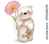 teddy bear and red chamomile on ... | Shutterstock .eps vector #296368196