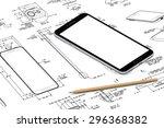smartphone plan blueprint.... | Shutterstock . vector #296368382