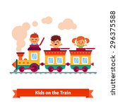 kids  boys and girls riding on... | Shutterstock .eps vector #296375588