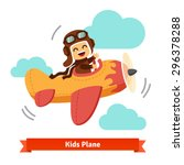 Happy Smiling Kid Flying Plane...