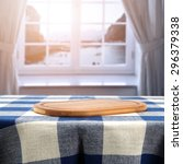 desk of wood and tablecloth... | Shutterstock . vector #296379338