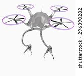 quadrocopter with robotic arm... | Shutterstock . vector #296390282