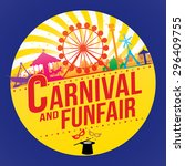 the carnival funfair and magic... | Shutterstock .eps vector #296409755