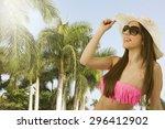 bikini girl in the summer with... | Shutterstock . vector #296412902