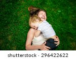 cute cheerful child with mother ... | Shutterstock . vector #296422622