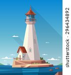Lighthouse On The Rock. Vector...